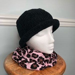 August Hat Company Black Chenille Hat NEW